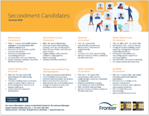 Frontier Summer 2020 Secondment Candidates